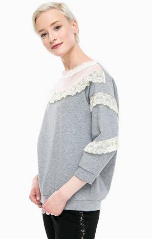 Серый свитшот с кружевной отделкой TWINSET Simona Barbieri. Цвет: серый