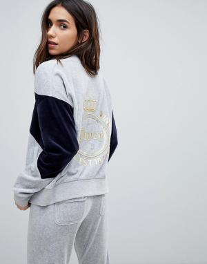 Juicy Couture Велюровая спортивная куртка с логотипом. Цвет: серебряный