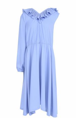Платье асимметричного кроя с плиссированной оборкой Vetements. Цвет: голубой