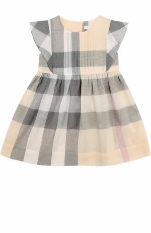 Хлопковое платье с принтом и оборками Burberry. Цвет: оранжевый