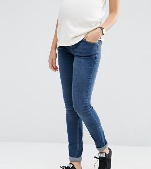 ASOS Maternity Зауженные джинсы для беременных с поясом над животом PE. Цвет: синий