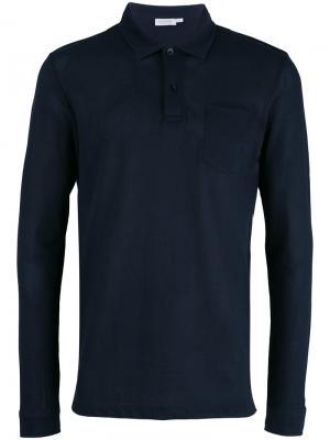 Базовая рубашка-поло Sunspel. Цвет: синий
