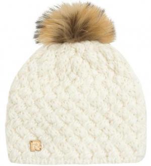 Однотонная вязаная шапка с помпоном R.Mountain. Цвет: молочный