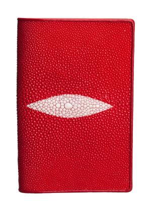 Обложка для паспорта из кожи морского ската MEYNINGER. Цвет: красный