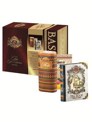 Подарочный набор цейлонского чай Basilur Чайный подарок (Чайная книга.Том 1 и Фолк: Радуга). Цвет: бордовый, золотистый