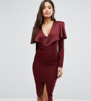 Vesper Платье миди с длинными рукавами и открытыми плечами. Цвет: красный