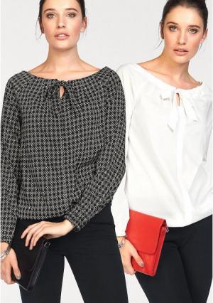 Блузка, 2 штуки BRUNO BANANI. Цвет: черный/белый с рисунком+белый