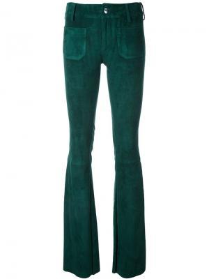Замшевые расклешенные брюки The Seafarer. Цвет: зелёный