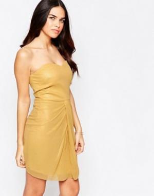 VLabel London Платье мини бандо Honey. Цвет: золотой
