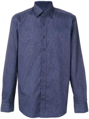 Приталенная рубашка с мелким узором Hackett. Цвет: синий