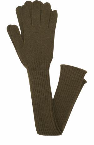 Удлиненные кашемировые перчатки Tegin. Цвет: зеленый
