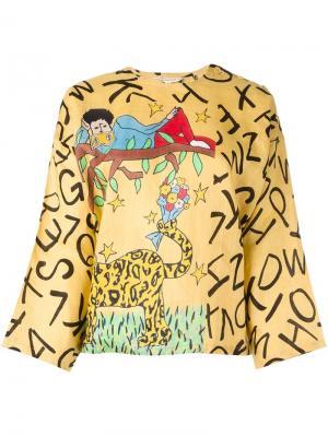 Топ-кимоно с графическим принтом Jc De Castelbajac Vintage. Цвет: жёлтый и оранжевый