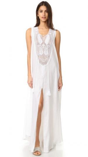 Льняное макси-платье Lana Miguelina. Цвет: белый