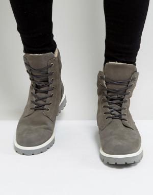 Zign Замшевые ботинки на шнуровке. Цвет: серый