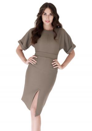 Платье с поясом, брошь ANASTASIA KOVALL. Цвет: коричневый (бронзовый)