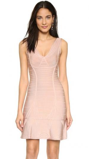 Бандажное платье Nadja Herve Leger. Цвет: бледно-розовый