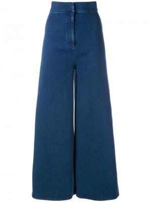 Широкие укороченные джинсы Sara Battaglia. Цвет: синий