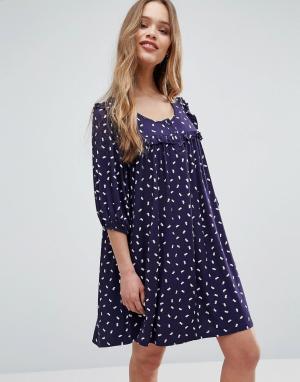 Ivana Helsinki Цельнокройное платье Moomin Annikki. Цвет: темно-синий