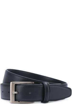Кожаный ремень с металлической пряжкой Canali. Цвет: темно-синий