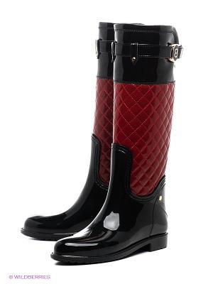 Резиновые сапоги Lady Lita. Цвет: черный, красный