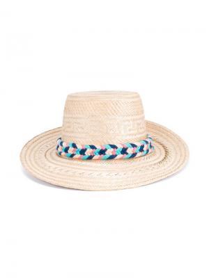 Соломенная шляпа с помпонами Yosuzi. Цвет: многоцветный