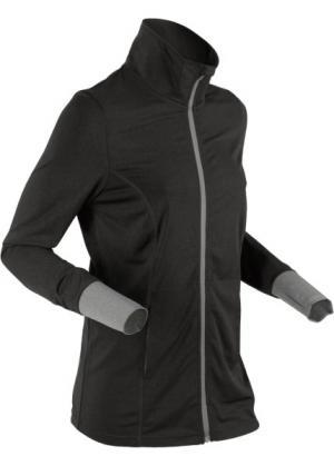 Спортивная трикотажная куртка с длинным рукавом (антрацитовый меланж) bonprix. Цвет: антрацитовый меланж