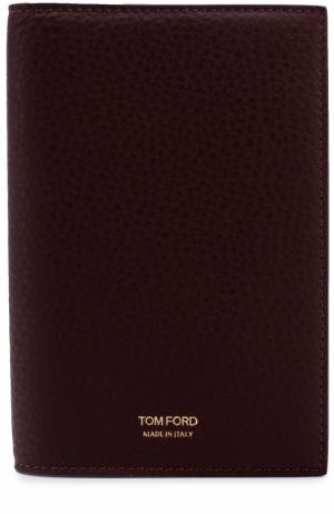 Кожаная обложка для паспорта Tom Ford. Цвет: бордовый