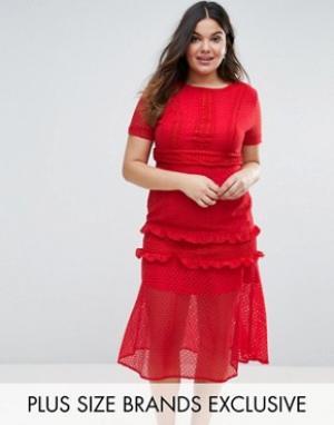 Truly You Кружевное платье миди. Цвет: красный