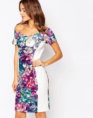 Amy Childs Платье миди со вставками Flora. Цвет: мульти