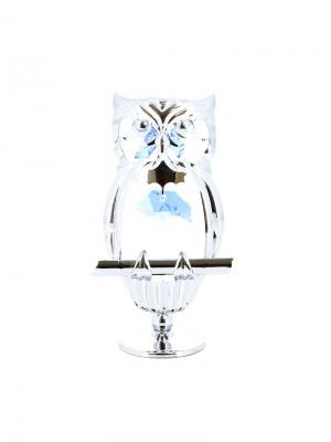 Миниатюра  Сова серебристого цвета с голубыми кристаллами CRYSTOCRAFT. Цвет: серебристый