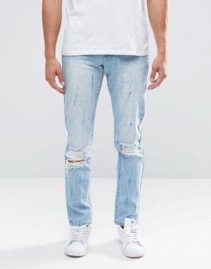 Always Rare Выбеленные джинсы слим с прорехами. Цвет: синий