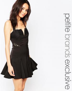 Tiger Mist Petite Короткое приталенное платье с кружевной отделкой и глубоким вырезом Ti. Цвет: черный