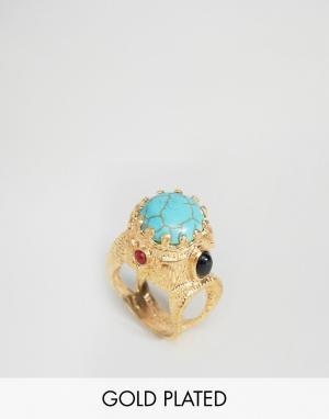 Ottoman Hands Броское кольцо с полудрагоценным камнем. Цвет: золотой