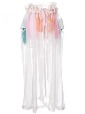Прозрачные широкие брюки с рюшами Mikio Sakabe. Цвет: розовый и фиолетовый