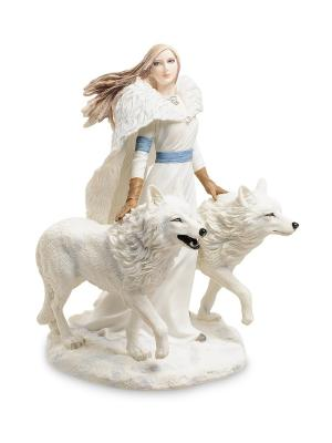 Статуэтка Девушка И Волки Veronese. Цвет: белый