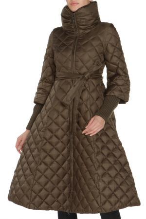 Полуприлегающая куртка с поясом и ремнем Clasna. Цвет: хаки