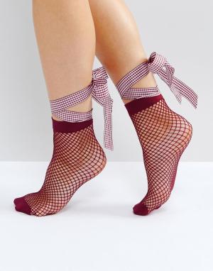 ASOS Сетчатые носки с бантом. Цвет: фиолетовый