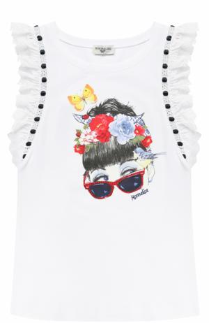 Хлопковая футболка с принтом и декорированными рукавами Monnalisa. Цвет: белый