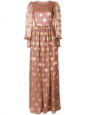 Декорированное расклешенное платье-макси Piccione.Piccione. Цвет: розовый и фиолетовый