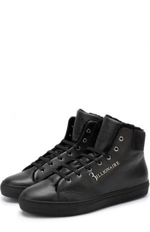 Высокие кожаные кеды на шнуровке с внутренней меховой отделкой Billionaire. Цвет: черный