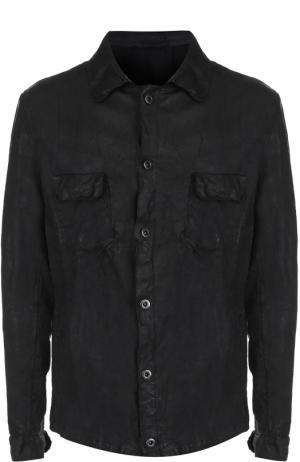 Кожаная куртка на пуговицах с эффектом крэш Salvatore Santoro. Цвет: черный