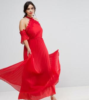 Truly You Платье-халтер макси с плиссированной юбкой. Цвет: красный