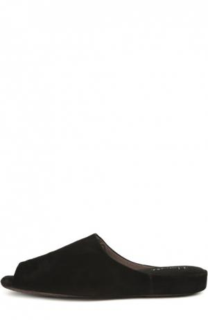 Замшевые домашние туфли с открытым мысом Homers At Home. Цвет: черный