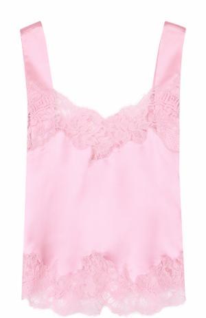 Однотонный шелковый топ с кружевной отделкой Givenchy. Цвет: розовый