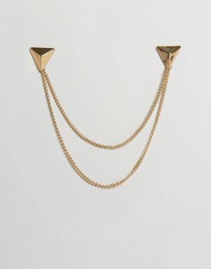 DesignB London Золотистые треугольные уголки для воротника с цепочками. Цвет: золотой