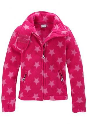 Флисовая куртка Kangaroos. Цвет: ярко-розовый звезды