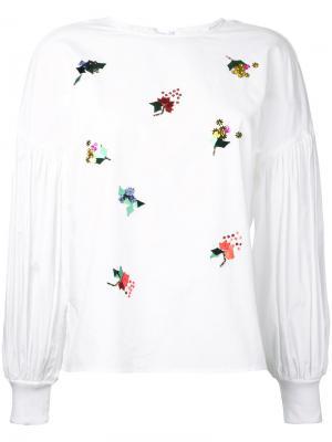 Блузка с отделкой пайетками Muveil. Цвет: белый