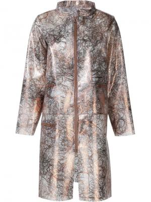 Пальто на молнии Luisa Cevese Riedizioni. Цвет: металлический