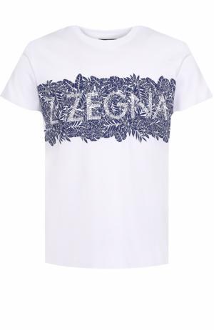 Хлопковая футболка с принтом Z Zegna. Цвет: белый
