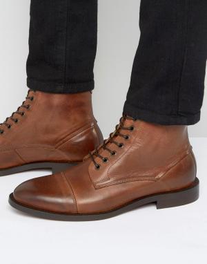 Hudson London Кожаные ботинки со шнуровкой Seymour. Цвет: рыжий
